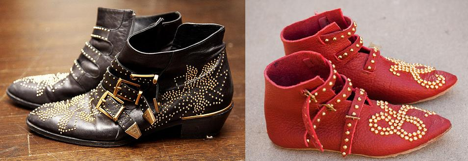 Chloe Studded Ankle Boots in Black and My Version in Red!