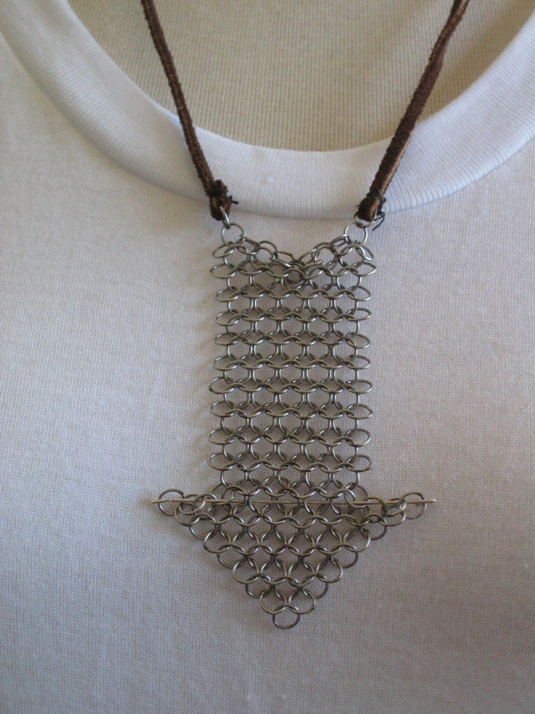 Hand Cut Chainmaille Arrow Pendant