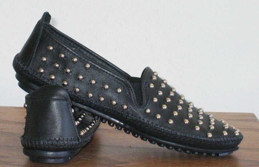 Black Leather Silver Studded Rollerball Loafers