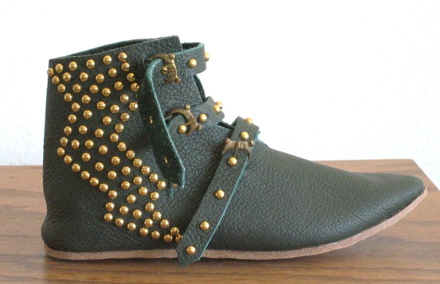 Gold Lightning Bolt Studded Boots in Green
