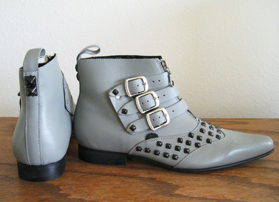 Black Pyramid Studded Grey Beatles Buckle Ankle Boots - size 10.5