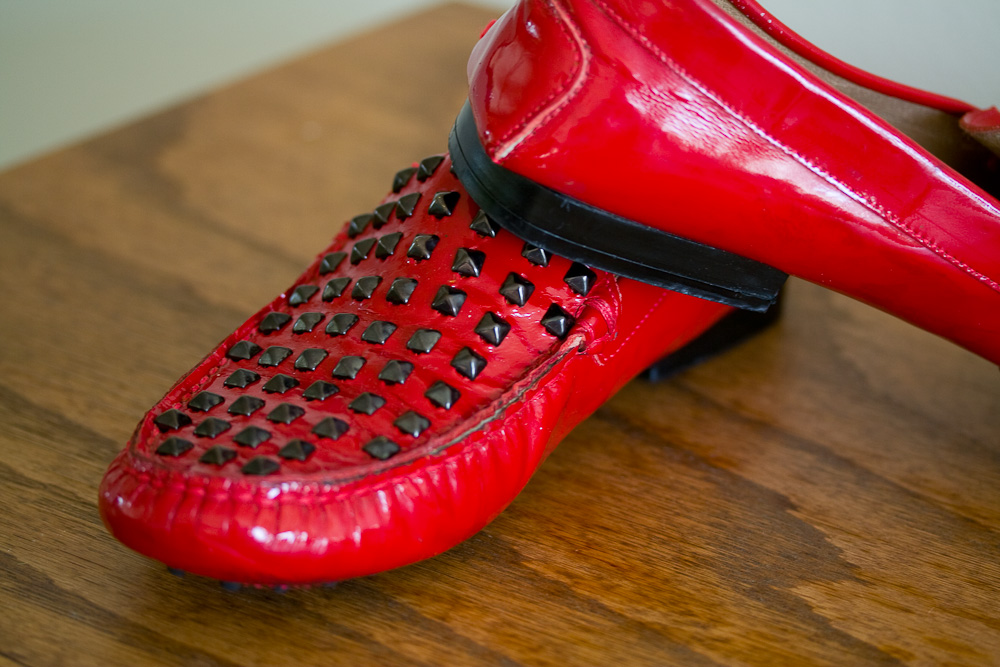 Black Pryamid Studded Red Patent Loafer - size 9