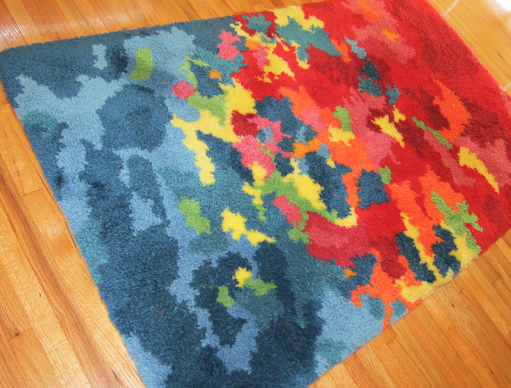 Hand Latch Hooked Psychedelic Shag Rug
