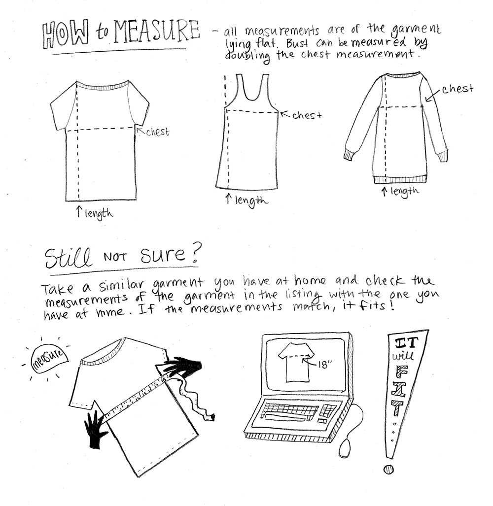 Buying Clothing Online measuring instructions