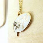 two string jane Enamel BONjour necklace